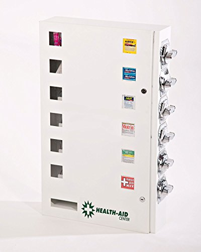 "Health Aid 6 Select Medicine or Condom Vending Machine with EXCLUSIVE HEAVY DUTY ""ALL STEEL"" COIN MECHANISMS"