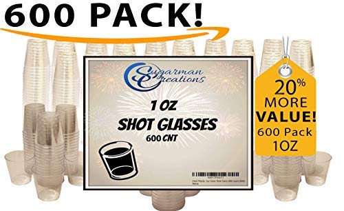 Sugarman Creations Strong Clear Plastic Disposable Shot Glasses, 1 oz. - BEST VALUE PACK-Pack of 600 ()