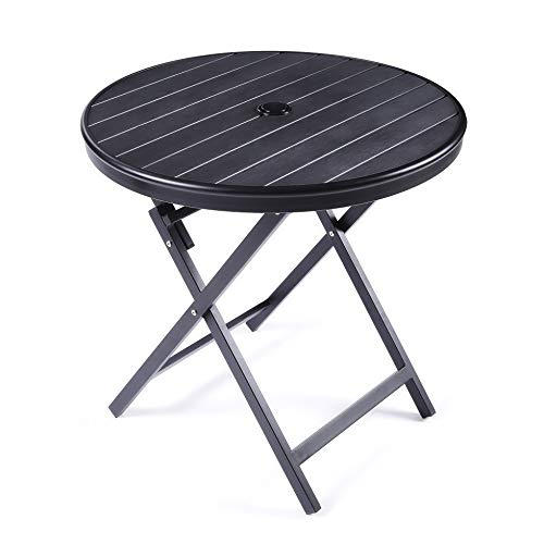(JIWU Large Outdoor Patio Portable Bistro Table, Round Folding Dining Table Aluminium Alloy & PE Wood- Dia.28.3