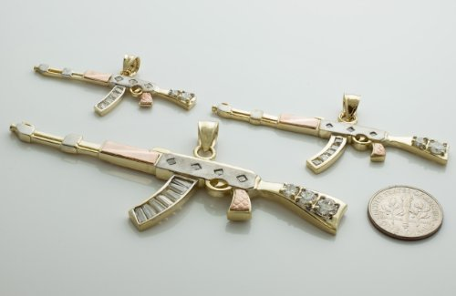 10k tri color gold gun charm ak 47 assault rifle pendant millimeters buy online in uae. Black Bedroom Furniture Sets. Home Design Ideas