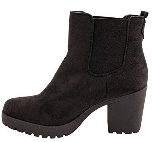 Comodo Chelsea Donna Plateau Boots Stivali ungef profilo Stivaletto Schwarz suola Chelsea Elara foderato q8gHZWtt