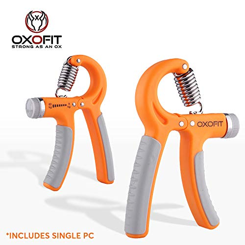 OxOFit - Strong as an Ox Non-Slip Gripper, Adjustable Resistance Hand Grip Strengthener 5-60 Kg for Athletes and Rehabilitation Exercising (Orange/Grey) (B07Y41Y543) Amazon Price History, Amazon Price Tracker