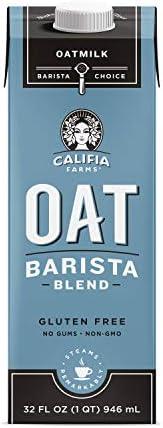 Califia Farms - Oat Milk, Unsweetened Barista Blend, 32 Oz (Pack of 6) | Shelf Stable | Non Dairy Milk | Cream