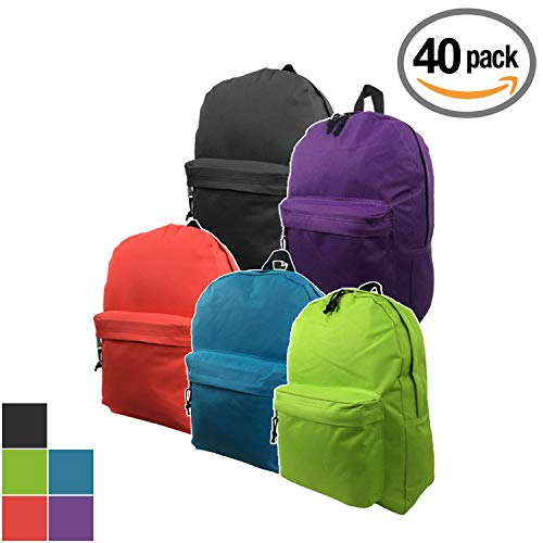 (Wholesale Classic Backpack 16 inch Basic Bookbag Bulk Cheap Case Lot 40pcs Simple Schoolbag Promotional Backpacks Low Price Non Profit Giveaway Student School Book Bags Vintage Daypack 5 Assort Color)