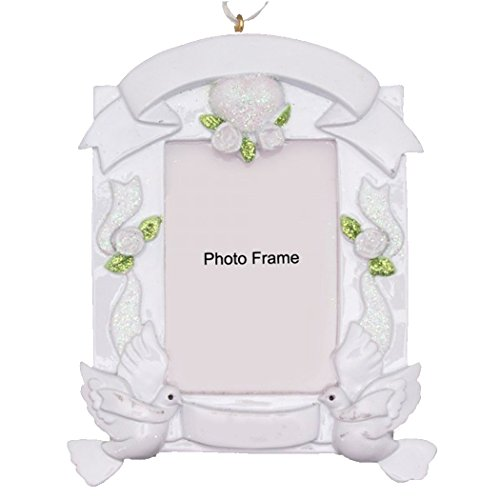 Personalized Wedding Photo Frame Christmas Tree Ornament 2019 - White Picture Display Doves Ribbon Glitter Heart Happily Ever Just Married Silver Romantic New Gift Year - Free Customization