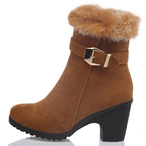 marrón altos Moda mujer botines bloque de tacones COOLCEPT Artificial forrado piel fiesta qIPHWwxda