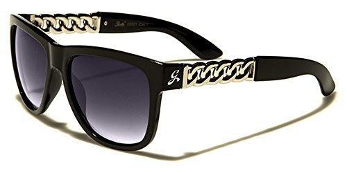 Giselle Femmes Lunettes de soleil style classique UV400 Protection à la mode GRATUIT beachutsunglasses poche inclus - Noir/Argent mUkKt4CLY