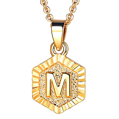 U7 Tiny Hexagon Initials Necklace for Women Girls 18K Gold Plated 26 Initials Jewelry A to Z Capital Letter Charm Embossed Grain Monogram Pendant with 18-20 Inch Rolo Chain, Alphabet M (For Initial E Necklace Girls)
