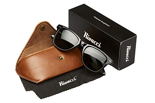 Rivacci VINTAGE Mens & Womens POLARIZED Classic Sunglasses - Best TAC DRIVING GLASSES - RETRO Shades for Men & Women - Black Green Grey Lens (Sonnenbrille Trendy)