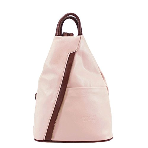 Brown Backpack Rucksack Stamp Genuine Soft Leather Women's Pelle Vera Pink wPTgCqx