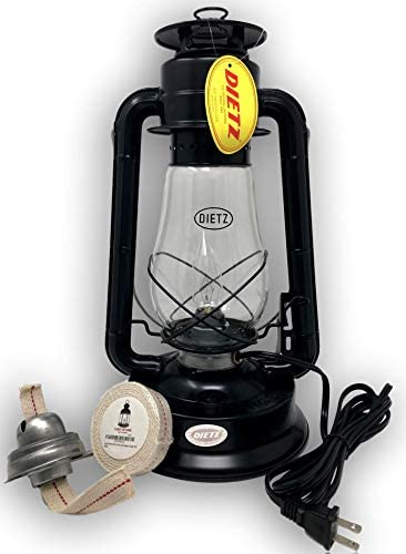 Dietz Electric 80 Convertible Burner Dimmer Low Light High Light Setting and Oil Burning Lantern Bundle with Light of Mine 7 8 Cotton Wick and Burner Black, Blizzard