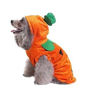 PanDaDa Holloween Pumpkin Impreso Suéter para Mascotas de Perro Pequeño Perro Abrigo de Invierno para Perros Ropa para Perros Ropa con Gorra: Amazon.es: ...