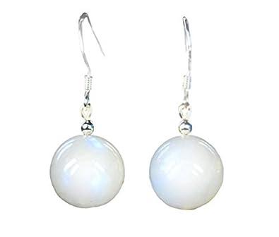 Schöne Ohrringe aus Mondstein in Kugelform D-12 mm 925 Silber Ohrhaken
