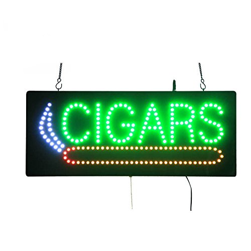 LED Cigars Shop Open Light Sign Super Bright Electric Advertising Display Board for Hookahs Bar Pipes Tobacco Smoking Electronic Cigarette Business Shop Store Window Bedroom 24 x 12 inches (HSC0062) (Led Cigar Sign)