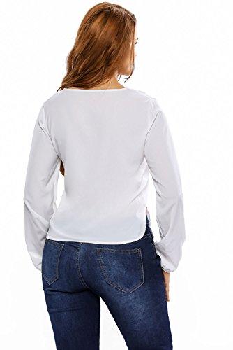 Neuf Blanc en dentelle côté Split plongeante à manches longues Blouse de soirée pour femme Tenue décontractée dété Taille UK 8EU 36