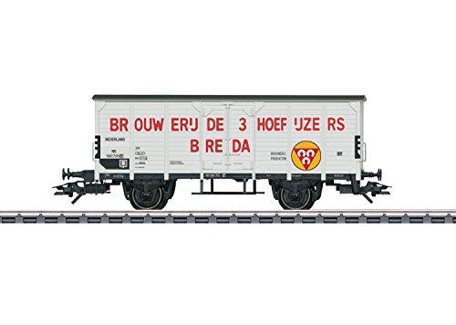 - 2-Axle Wood Beer Reefer - 3-Rail Ready to Run -- Brouwerij de 3 Hoefijzers (Era III 1950; white, red, yellow)