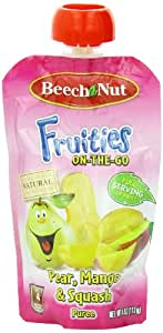 Beech-Nut Fruities On The Go Puree, Pear Mango Squash, 4 Ounce (Pack of 16)
