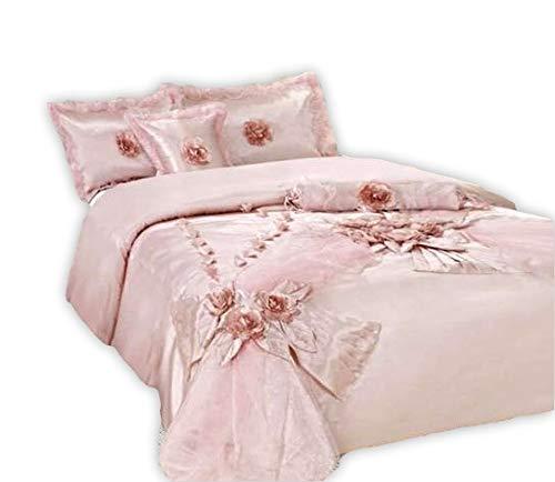 - Tache Home Fashion 1632-Q Elegant Floral Light Princess Rose Pink Shabby Chic Satin Comforter Bedding Set, Queen, Raspberry Macaroon