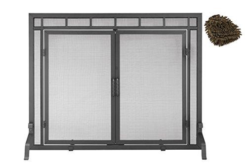 X800286 Minuteman International Black Door Screen, for Fireplace (Complete Set) w/ Bonus: Premium Microfiber Cleaner Bundle