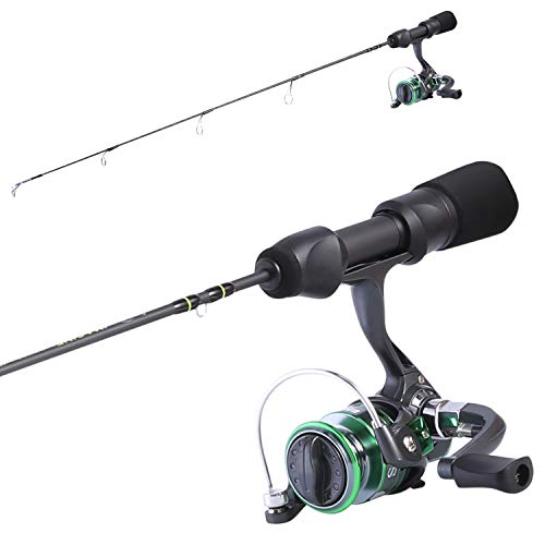 Sougayilang Ice Fishing Rod and Reel Combos Portable Light Weight Ice Fishing Pole with Mini Left Hand and Right Hand Interchangeable Spinning Fishing Reel for Trout