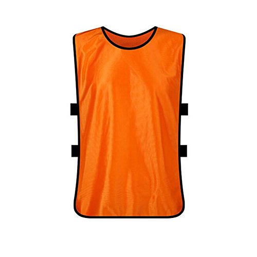 TopTie Training Vests, Sports Pinnies for Football / Soccer Team, Adult & Youth & X-Large-Orange-Adult