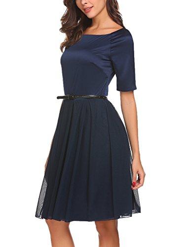 ACEVOG Damen 50s Vintage Kleid Elegant Knielang Tülle Cocktailkleid  Schwingen Abendkleid Partyleider Rockabilly Kleid Navy Blau ... 5bacf29440