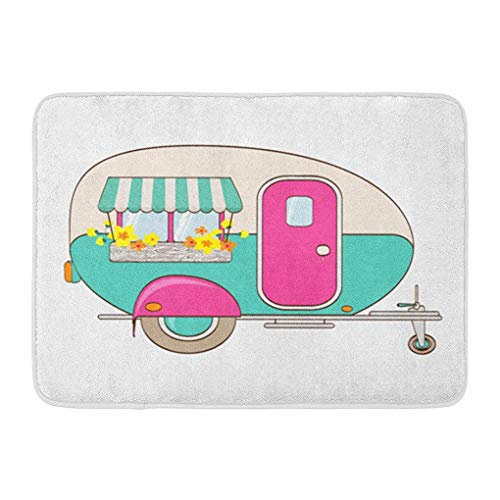 Awning Paper Blue (YGUII Doormats Bath Rugs Outdoor/Indoor Door Mat Colorful Happy Cute Pink and Turquoise Camper Window Awning Flower Boxes Papers Box Bathroom Decor Rug Bath Mat 16X23.6in (40x60cm))