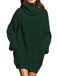 Women's Loose Oversize Turtleneck Wool Long Pullover Sweater Dress