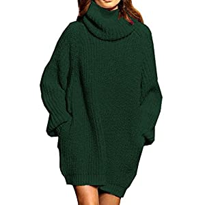 Pink Queen Women's Loose Turtleneck Oversize Long Pullover Sweater Dress