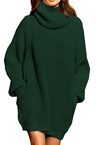 Women's Loose Turtleneck Oversize Long Pullover Sweater Dress Dark Green XL -