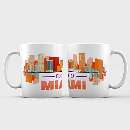 Miami City Iconic View Ceramic Coffee Mug - 11 oz. - Awesome New Design Colorful Decorative Souvenir Gift Cup for Tourists, Men and Women, Florida -