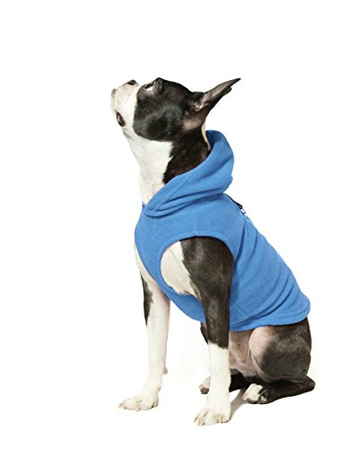 Gooby - Fleece Vest Hoodie, Small Dog Pull Over Hooded Fleece Jacket with Leash Ring, Blue, -