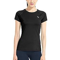 Baleaf Women's Short Sleeve Cool Feeling Running Shirt Mesh Back Black Size M