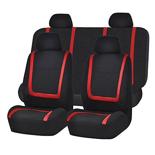 (FH Group FB032RED114 Red Unique Flat Cloth Car Seat Cover (w. 4 Detachable Headrests and Solid Bench))