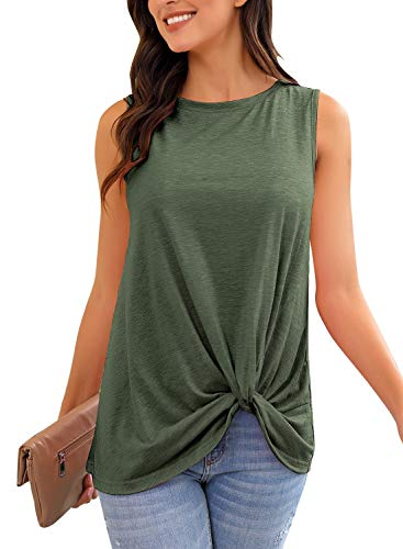 GRAPENT Women's Olive Green Casual Twist Knot Tunic Tank Top Loose Sleeveless Tee Shirt Blouse Small US 4-6