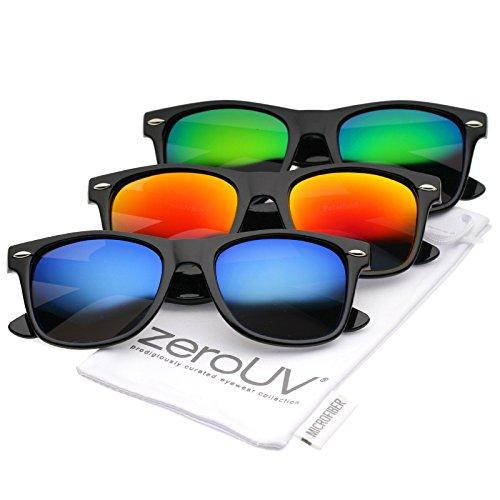 zeroUV - Retro Colored Mirror Polarized Lens Square Horn Rimmed Sunglasses 55mm (3 Pack | Black / Green + Orange + (Cheap Coloured Contact Lenses)