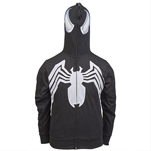 Venom Costumes For Men (Venom Costume -- Marvel Hoodie Zipper-Fleece Sweatshirt, X-Large)