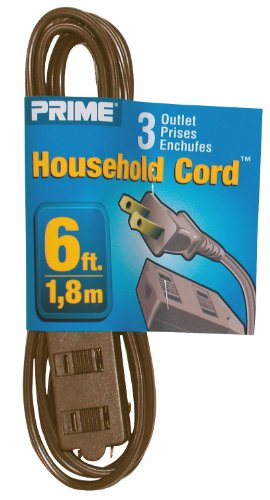 Prime Wire & Cable EC670606 6-Foot 16/2 SPT-2 3-Outlet Indoor Cord, Brown (Cord Extension Prime)