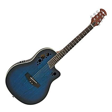 Guitarra Electroacústica Deluxe Con Dorso Redondeado de Gear4music - Azul