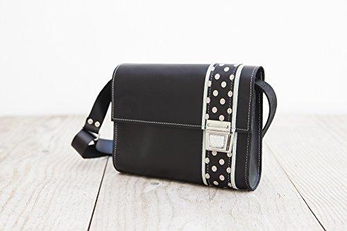 Lederhandtasche, Umhängetasche aus schwarzem Rindsleder , femininer Crossbodybag