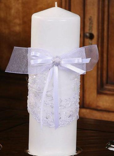 Victorian Collection Pillar Candle WHITE by Beverly Clark Wedding Accessories