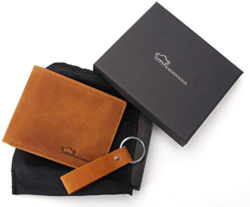 Wardeindesign Men's Leather Wallet Bifold RFID Designer engraved - and leather key fob by Wardeindesign (Image #1)