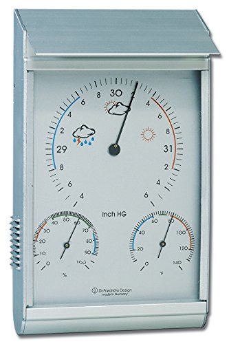 Thermometer Aluminum (HOKCO Weather Station - Analog - Barometer - Thermometer - Hygrometer - Aluminum)