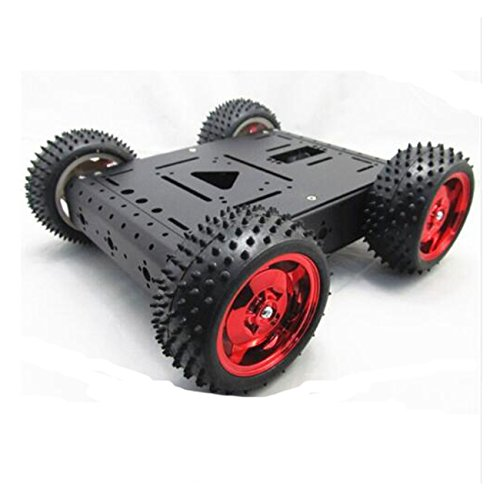 UniHobby WiFi Robot Car Chassis 4WD Robot Car Kit Maximum Load 15KG Aluminum Robotics Chassis Kit for Raspberry PI, Arduino Robot Projects(Red Tires)