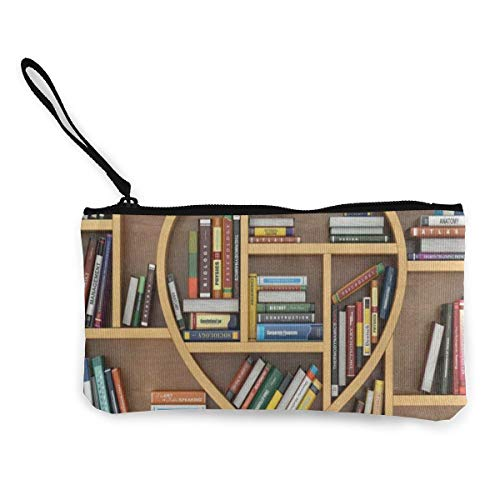Canvas Coin Purse Educational Bookshelf Customs Zipper Pouch Wallet Cash Bank Car Passport