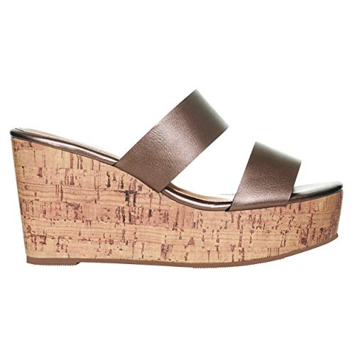 (Rohb by Joyce Azria Casablanca High Heel Platform Wedge Slip On Sandal (Copper) Size 6)