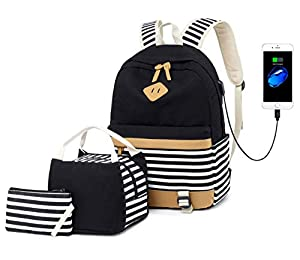 Girls Canvas School Backpack Set 3 in 1 with lunch bag College Laptop USB Backpack Casual Daypack for Teen Girls (Black set)