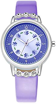 WUTAN Girls Watch Adorable Leather Strap Wrist Band Flowers Dial with Diamond Cute Watch for Girls Casual Wate