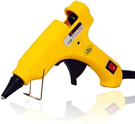 Xing zhe ホットグルーガン、10高純度・高粘度スティックのり、DIYアートに適した、クラフトプロジェクトやシール修理で20Wミニ高温接着ガン、イエロー 贈り物 (Color : Yellow)