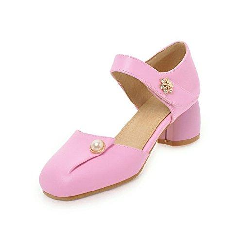 Zapatos de Mujer de Las Mujeres de Cuero sintético Primavera Verano Tacón Grueso Talón de Bloque Hueco para el Vestido al Aire Libre Blanco Negro Azul Rosa Un